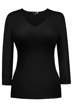 JudyP V Neck 3/4 Sleeve - Black