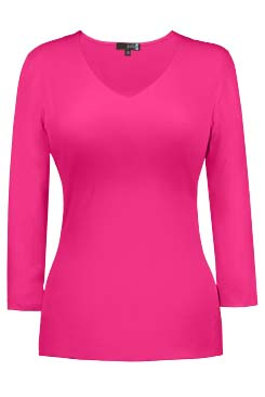 JudyP V Neck 3/4 Sleeve - Bougainvillea