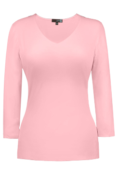 JudyP V Neck 3/4 Sleeve - Crystal Rose