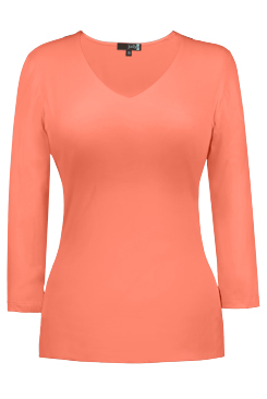 JudyP V Neck 3/4 Sleeve - Fusion Coral