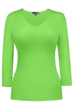 JudyP V Neck 3/4 Sleeve - Green Flash