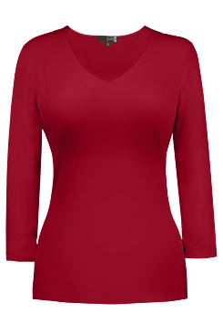 JudyP V Neck 3/4 Sleeve - Red