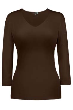 JudyP V Neck 3/4 Sleeve - Walnut