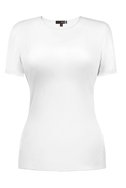 JudyP Short Sleeve Jewel Neck - White