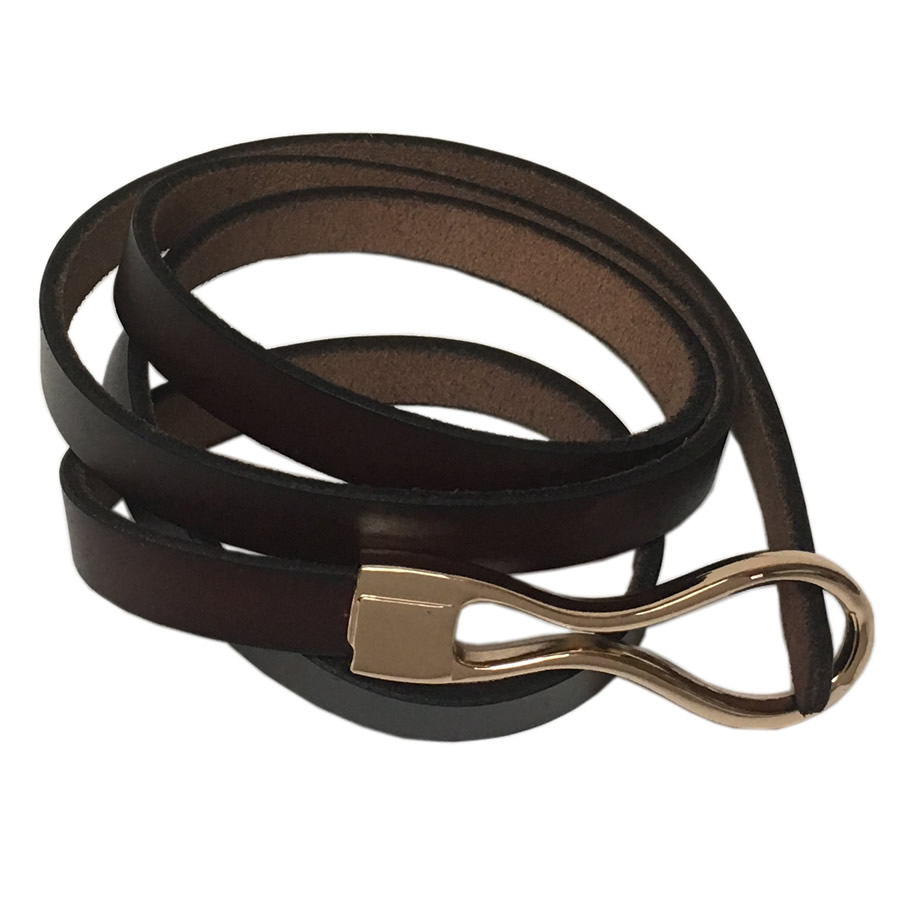 MIKAROSE Thin Belt With Loop - Dark Brown