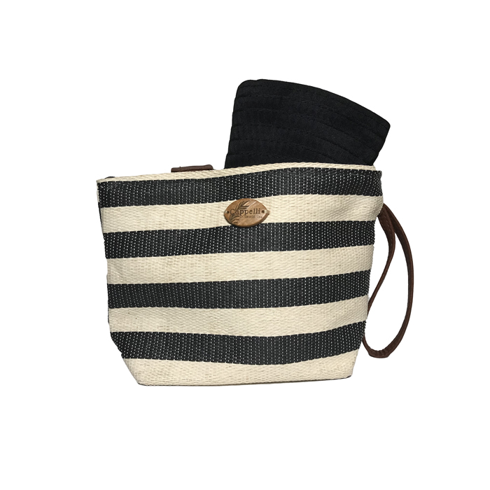 Cappelli Pack a Hat & Toyo Stripe Tote- Black