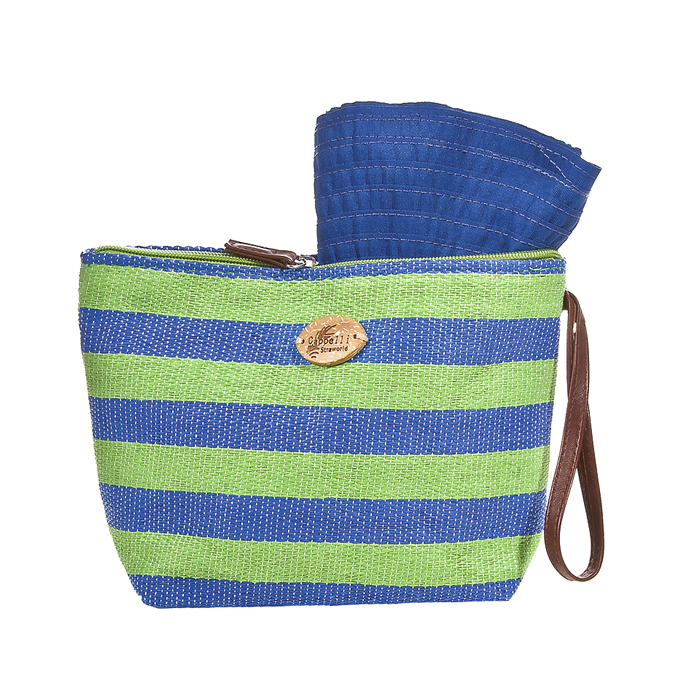 Cappelli Pack a Hat & Toyo Stripe Tote - Green/Blue
