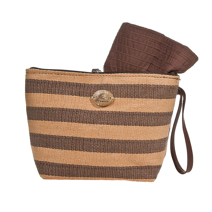 Cappelli Pack a Hat & Toyo Stripe Tote - Toast/ Brown