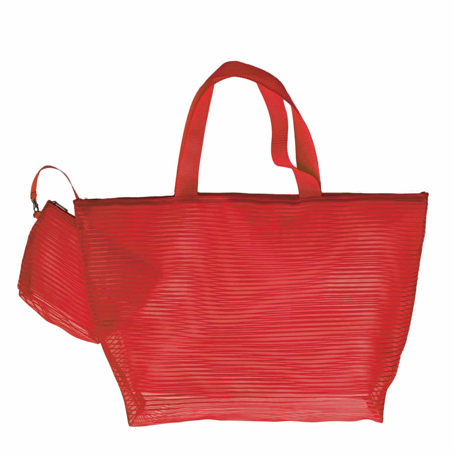 Cappelli Tote & Cosmetics Bag - Red