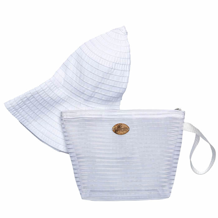 Cappelli Pack a Hat & Mesh Tote - White