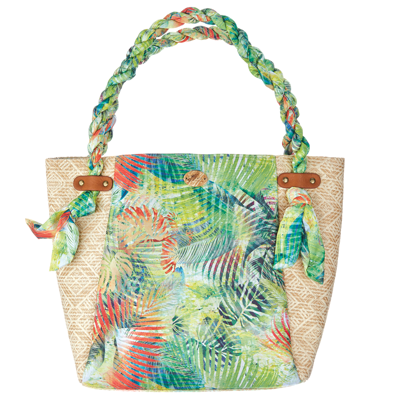 Cappelli Fabric & Straw Tote - Lime