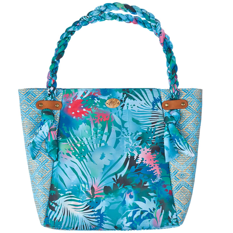Cappelli Fabric & Straw Tote - Turquoise