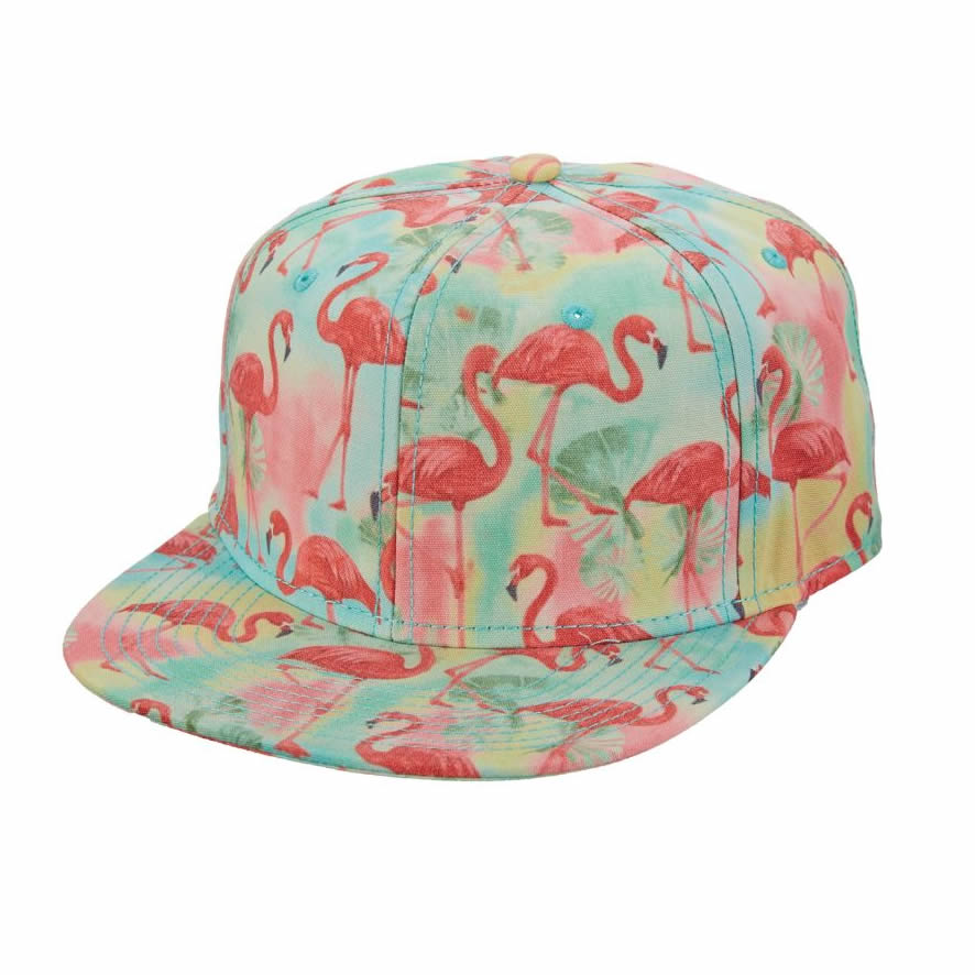 Brooklyn Hat Company Coal Gables Flamingo Flat Bill Cap - Lime