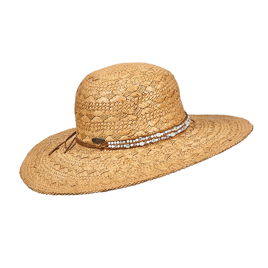 Cappelli Broad Brim with Beaded Trim - White