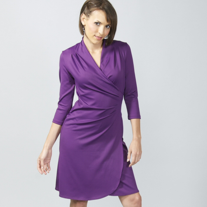 Carilyn Vaile 3/4 Sleeve Faux Wrap Dress