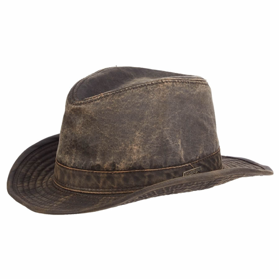Indiana Jones Weathered Cotton Fedora- Dark Brown- Large