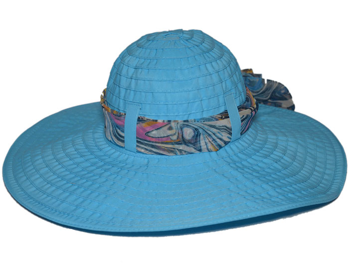Scala Big Brim Ribbon Chiffon Scarf Hat - Turquoise
