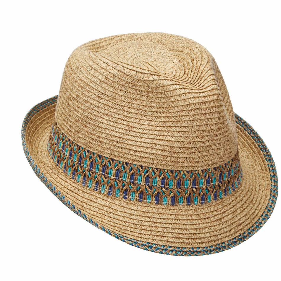 Scala Paper Braid Fedora Hat - Blue