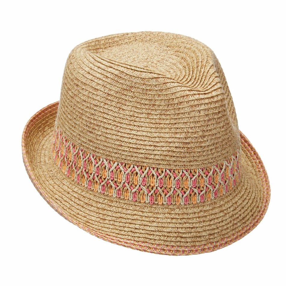 Scala Paper Braid Fedora Hat - Pink