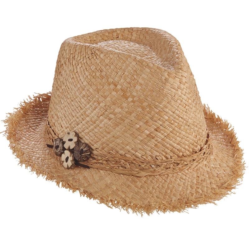Scala Pronto Raffia Fedora with Wood Bead Buttons