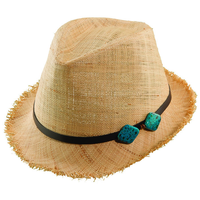 Scala Pronto Matte Raffia Fedora with Turquoise Accents