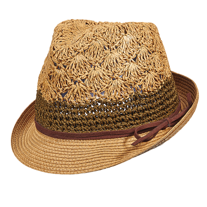Scala Crochet Toyo Fedora Hat -Tea