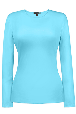 JudyP Jewel Neck Long Sleeve - Blue Glow