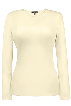 JudyP Jewel Neck Long Sleeve - Pearl