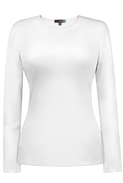 JudyP Jewel Neck Long Sleeve - White