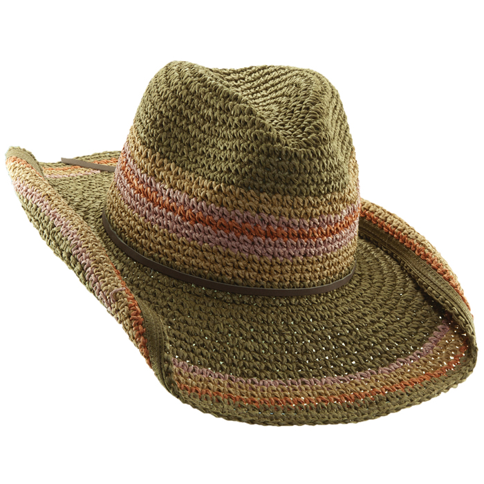 Tropical Trends Crochet Toyo Hat - Olive