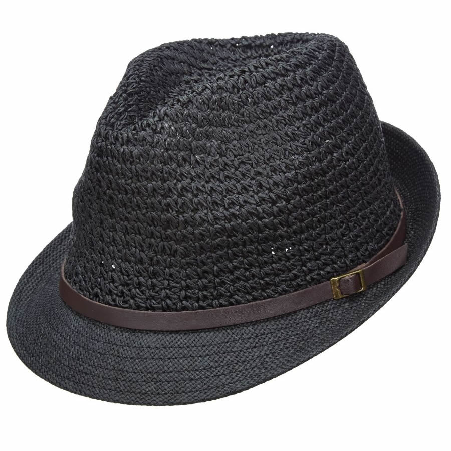 Scala Pronto Fedora with Faux Leather Band - Black