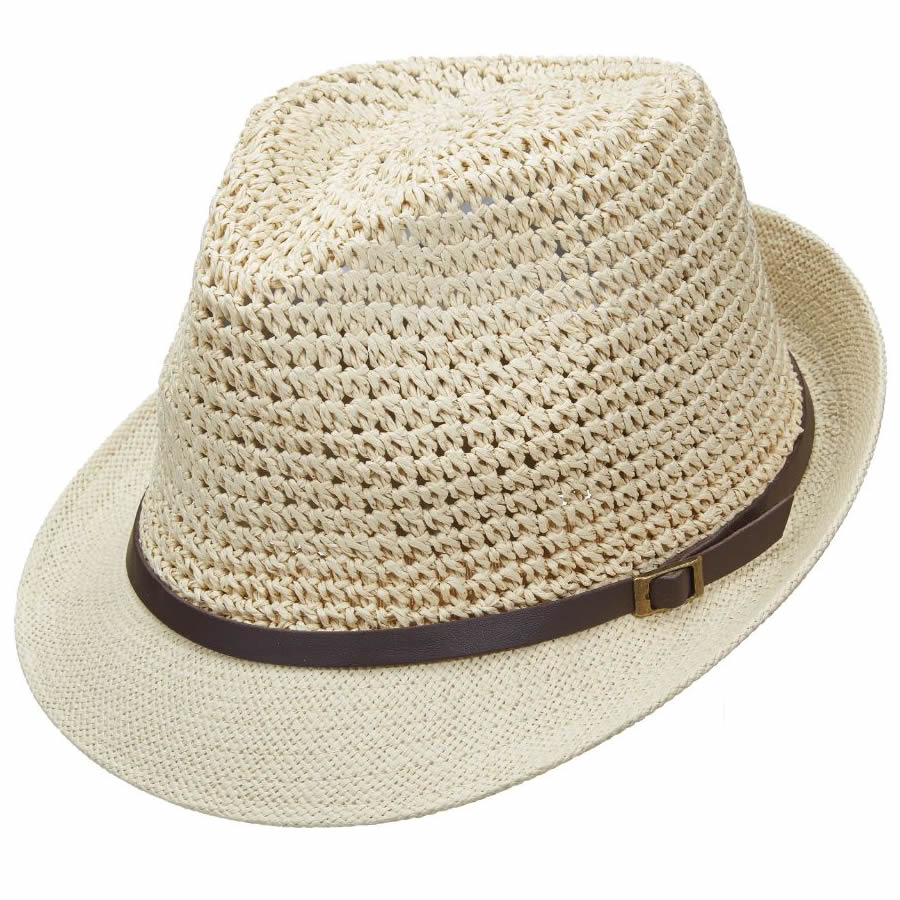 Scala Pronto Fedora with Faux Leather Band- Natural