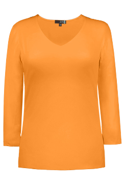 JudyP V Neck 3/4 Sleeve New Relaxed Fit - Apricot