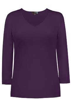 JudyP V Neck 3/4 Sleeve New Relaxed Fit - Aubergine