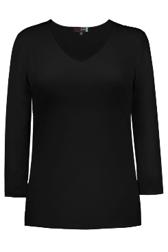 JudyP V Neck 3/4 Sleeve New Relaxed Fit - Black