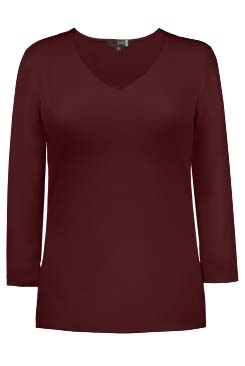 JudyP V Neck 3/4 Sleeve New Relaxed Fit - Cabernet