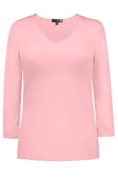 JudyP V Neck 3/4 Sleeve New Relaxed Fit - Crystal Rose