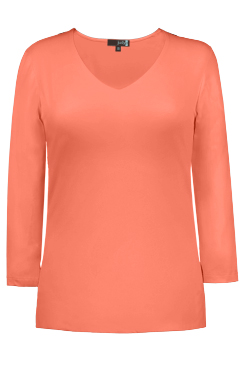 JudyP V Neck 3/4 Sleeve New Relaxed Fit - Fusion Coral