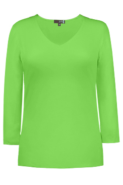 JudyP V Neck 3/4 Sleeve New Relaxed Fit - Green Flash