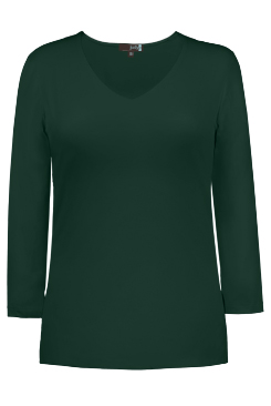 JudyP V Neck 3/4 Sleeve New Relaxed Fit - Hunter