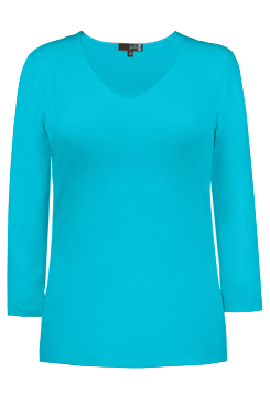 JudyP V Neck 3/4 Sleeve New Relaxed Fit - Maui Blue