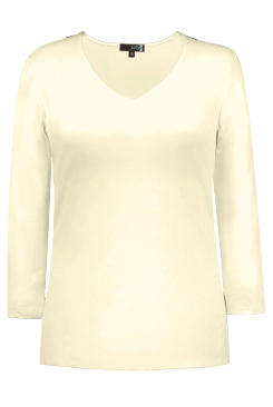 JudyP V Neck 3/4 Sleeve New Relaxed Fit - Pearl