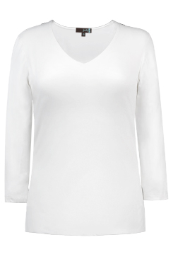 JudyP V Neck 3/4 Sleeve New Relaxed Fit- White