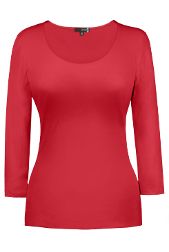 JudyP Scoop Neck 3/4 Sleeve - Cayenne