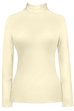 JudyP Long Sleeve Turtleneck - Pearl