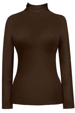 JudyP Long Sleeve Turtleneck - Walnut