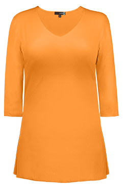 JudyP V Neck 3/4 Sleeve Tunic - Apricot