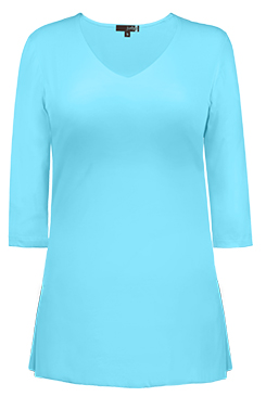 JudyP V Neck 3/4 Sleeve Tunic - Blue Glow