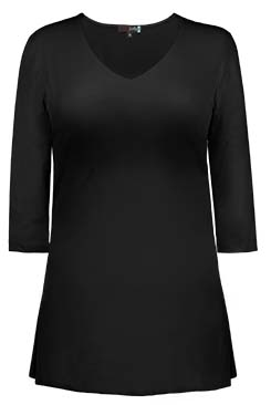 JudyP V Neck 3/4 Sleeve Tunic - Black