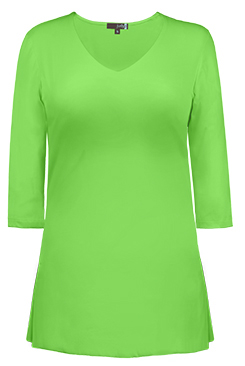 JudyP V Neck 3/4 Sleeve Tunic - Green Flash